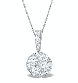 Diamond Moyen Galileo 1CT Pendant Necklace in 18K White Gold - R4647Y