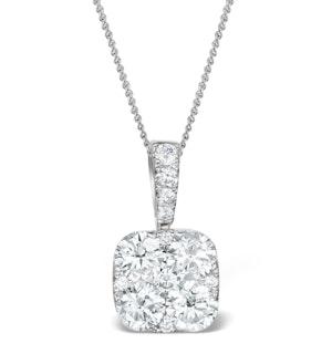 Diamond Carre Galileo 1.10CT Pendant Necklace in 18K White Gold