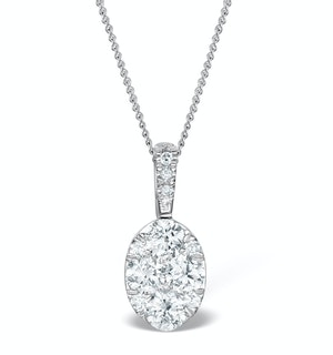 Diamond Oval Galileo 0.52CT Pendant Necklace in 18K White Gold
