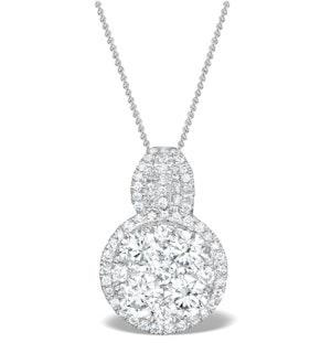 Diamond Halo Galileo 1.40CT Pendant in 18K White Gold - R4641Y