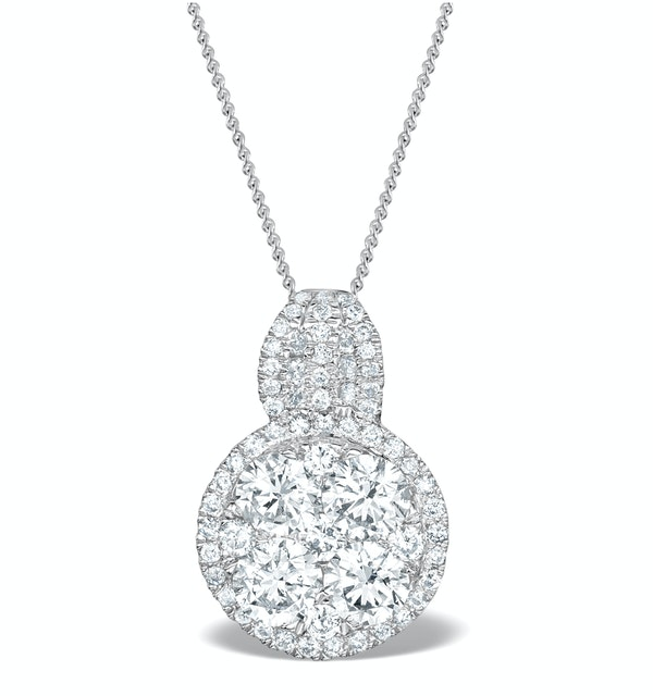 Diamond Halo Galileo 1.40CT Pendant in 18K White Gold - R4641Y - image 1