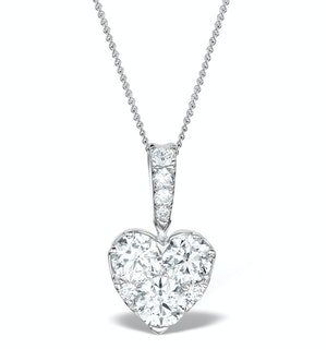 Diamond Galileo Heart 1.10CT Pendant Necklace in 18K White Gold