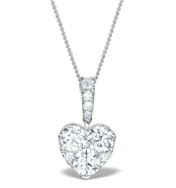 Diamond Galileo Heart 1.10CT Pendant Necklace in 18K White Gold - image 1