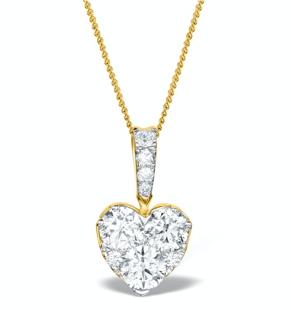 Diamond Galileo Heart 1.10CT Pendant Necklace in 18K Gold - R4653 - image 1