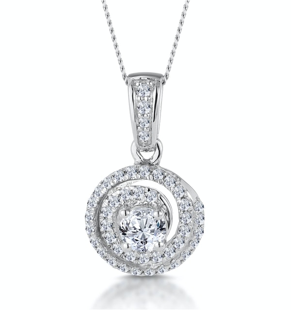 Diamond Swirl Necklace 0.60ct Set in 18K White Gold - image 1