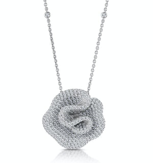 Diamond Pave Flower Pendant Necklace 3.50ct H/Si in 18K White Gold