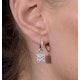 Halo Diamond Drop Earrings - Messina - 1.29ct - in 18K White Gold - image 4