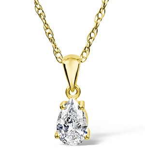 18K Gold Diamond Pear Shape Pendant Necklace 0.33CT G/VS