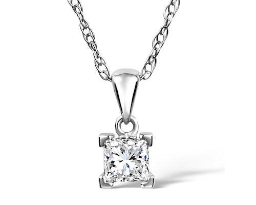 Princess Cut Diamond Pendants and Necklaces