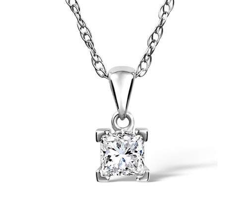 Princess Cut Diamond Solitaire Pendants and Necklaces