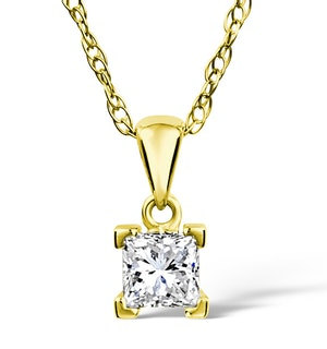 18K Gold Princess Cut Diamond Pendant Necklace 0.50CT H/SI