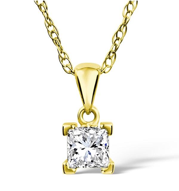 18K Gold Princess Cut Diamond Pendant Necklace 0.50CT G/VS - image 1