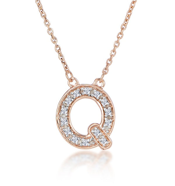 Initial 'Q' Necklace Diamond Encrusted Pave Set in 9K Rose Gold - image 1