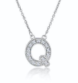 Initial 'Q' Necklace Diamond Encrusted Pave Set in 9K White Gold