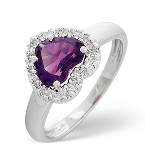 Amethyst 1.03ct And Diamond 18K White Gold Ring