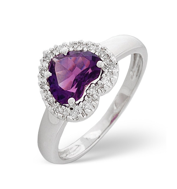 Amethyst 1.03ct And Diamond 18K White Gold Ring - image 1
