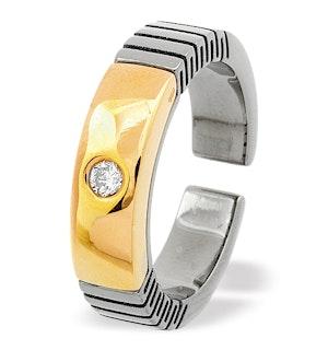 18K Gold and Single Stone Titanium Ring Dia 0.07ct