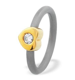 18K Gold Love Heart Design Titanium Ring