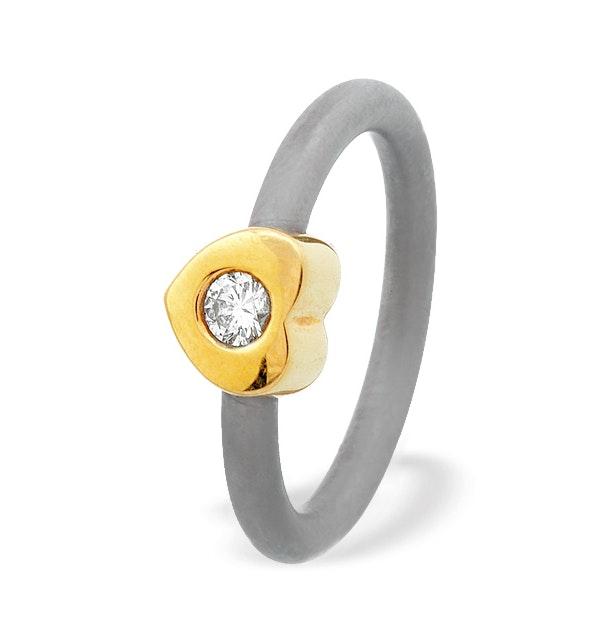 18K Gold Love Heart Design Titanium Ring - image 1