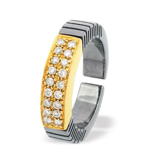 18K Gold and Titanium Ring Dia 0.22ct - image 1