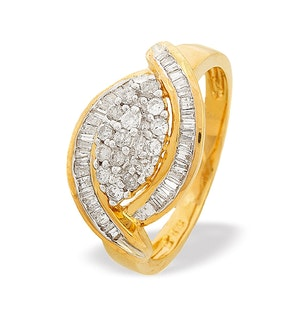9K Gold Baguette and Brilliant Diamond Cluster Ring