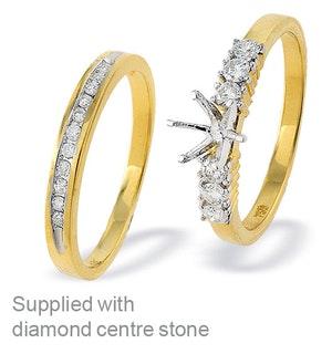 18K Gold Diamond Set Mount and Half Eternity Ring (0.37ct)