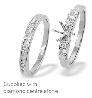 18K White Gold Diamond Set Mount and Half Eternity Ring (0.37ct)