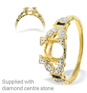18K Gold Intricate Diamond and Sapphire Ring Mount