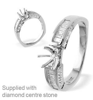 18K Ring White Gold Baguette Diamond Set Mount (0.90ct)