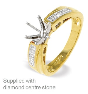 18K Gold Diamond Claw Ring Mount with Baguette Detail on Shoulders