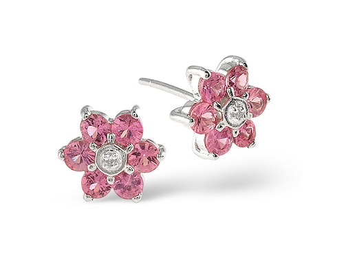 Round Cut Pink Sapphire Earrings