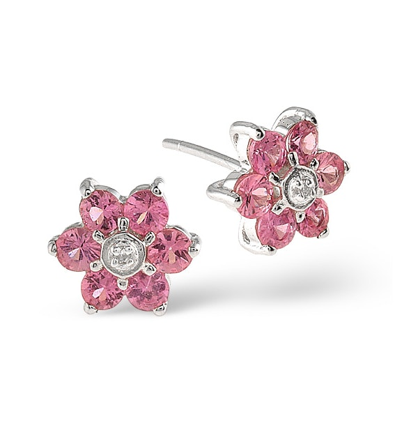 Pink Sapphire 0.78ct and Diamond 9K White Gold Earrings - image 1