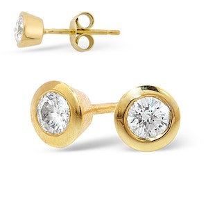 18K Gold Rub-over Diamond Stud Earrings - 0.30CT - H/SI - 5mm