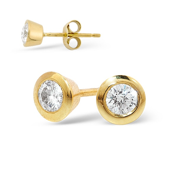 18K Gold Rub-over Diamond Stud Earrings - 0.30CT - H/SI - 5mm - image 1