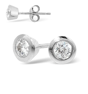 18K White Gold Rub-over Diamond Stud Earrings - 0.30CT - G/VS - 5mm