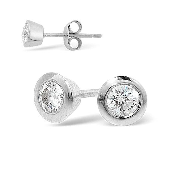 18K White Gold Rub-over Diamond Stud Earrings - 0.30CT - G/VS - 5mm - image 1