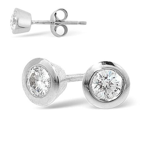 Platinum Rub-over Diamond Stud Earrings - 0.30CT - H/SI - 5mm - image 1