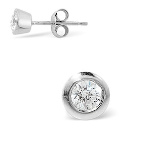 Single Stud Rub Over Diamond Earring 0.50ct H/Si 18K White Gold - 7mm