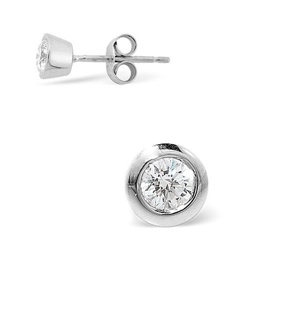Single Stud Rub Over Diamond Earring 0.50ct H/Si 18K White Gold - 7mm - image 1