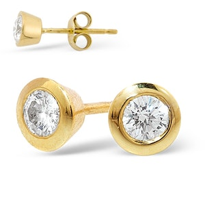 18K Gold Rub-over Diamond Stud Earrings - 0.66CT - H/SI - 6.2mm