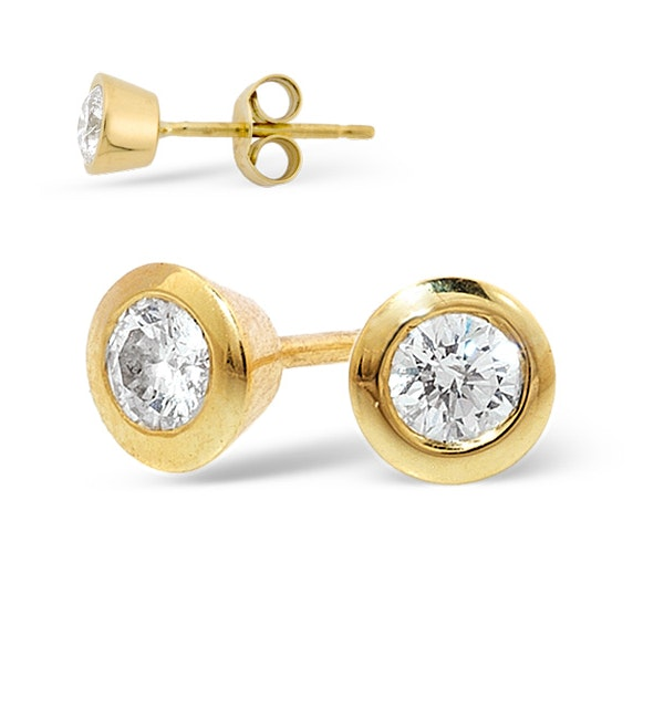 18K Gold Rub-over Diamond Stud Earrings - 0.50CT - H/SI - 5.8mm - image 1