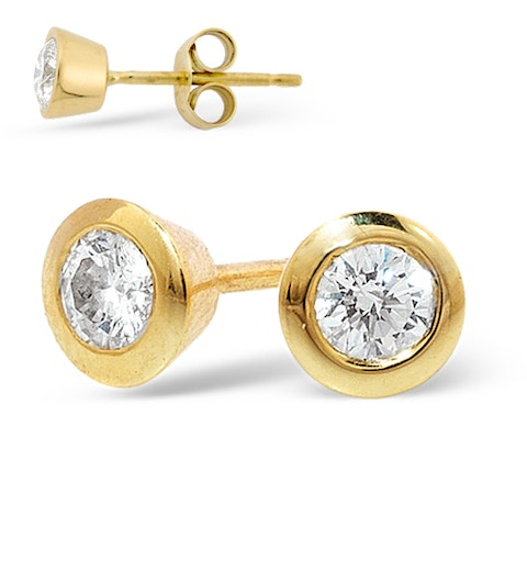18K Gold Rub-over Diamond Stud Earrings - 0.66CT - H/SI - 6.2mm - image 1