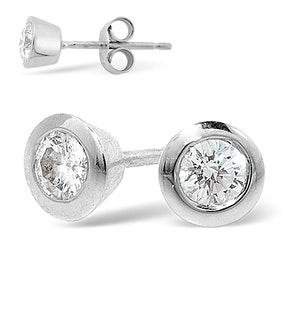 18K White Gold Rub-over Diamond Stud Earrings - 0.50CT - H/SI - 5.8mm