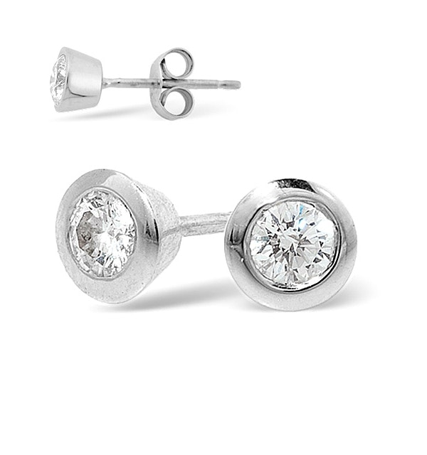 Platinum Rub-over Diamond Stud Earrings - 0.66CT - H/SI - 6.2mm - image 1