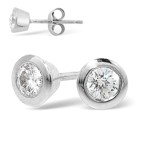 Platinum Rub-over Diamond Stud Earrings - 0.66CT - G/VS - 6.2mm - image 1