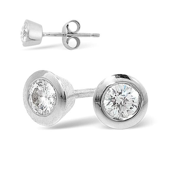 18K White Gold Rub-over Diamond Stud Earrings - 0.50CT - G/VS - 5.8mm - image 1