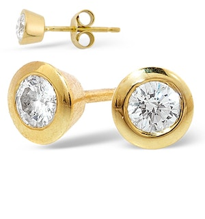 18K Gold Rub-over Diamond Stud Earrings - 1CT - H/SI - 7mm
