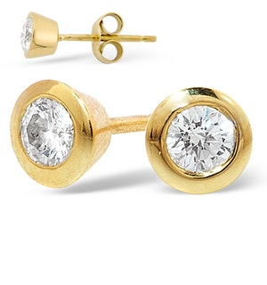 18K Gold Rub-over Diamond Stud Earrings - 1CT - G/VS - 7mm