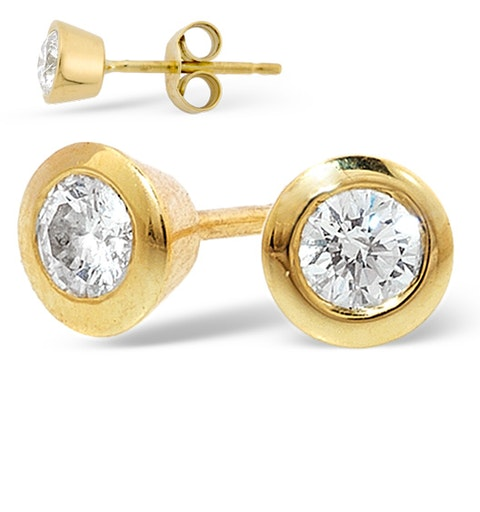 18K Gold Rub-over Diamond Stud Earrings - 1CT - H/SI - 7mm - image 1