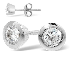 18K White Gold Rub-over Diamond Stud Earrings - 1CT - H/SI - 7mm